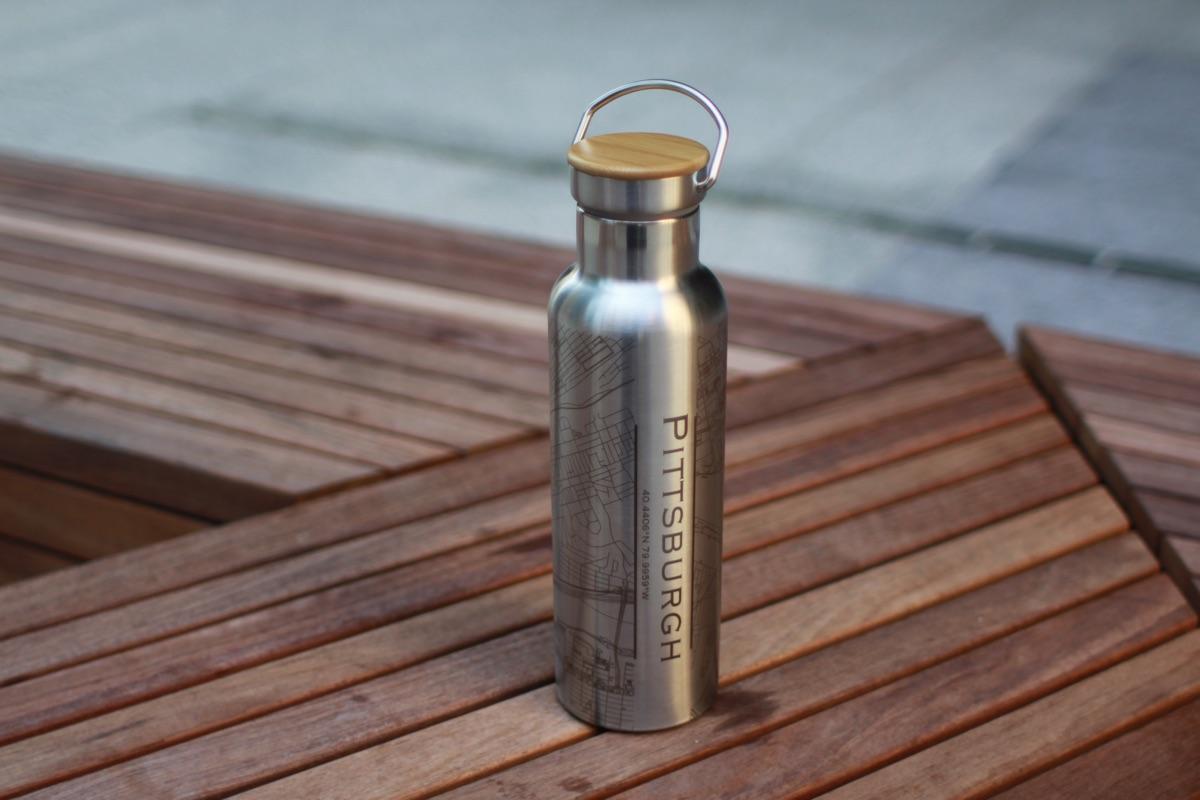 Custom Engraved Map Water Bottles Unique Drinkware