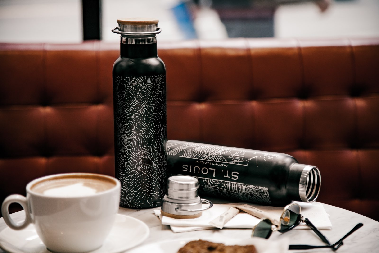 20oz cola style stainless steel bottle with custom linart engraved map